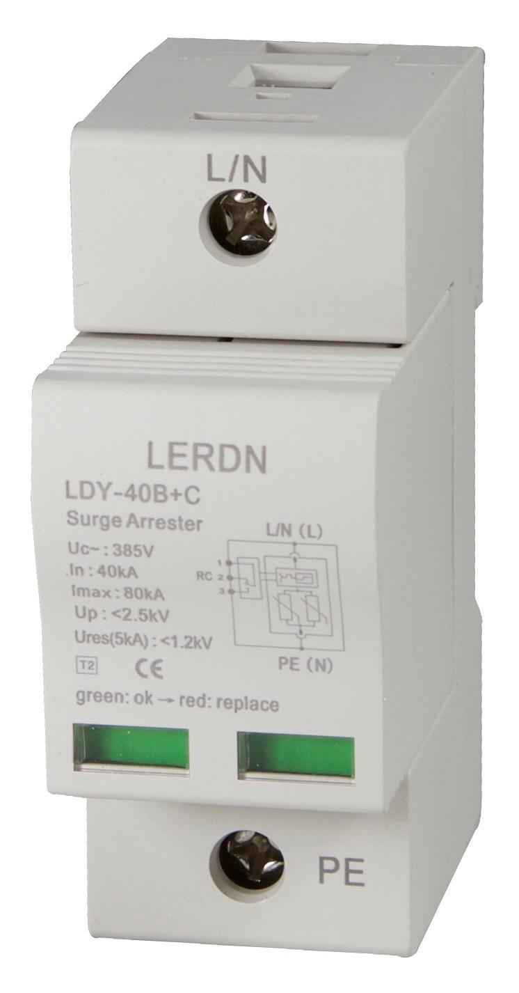 雷尔盾LERDN浪涌保护器LDY-40B+C/1P
